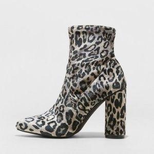 A New Day • norma leopard print velvet heel boot
